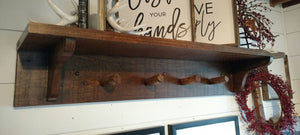 Wall Shelf w/ Log Pegs