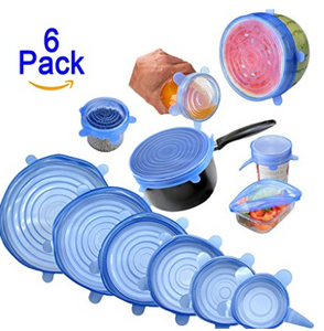 6PCS REUSABLE SILICONE STRETCH CONTAINERS