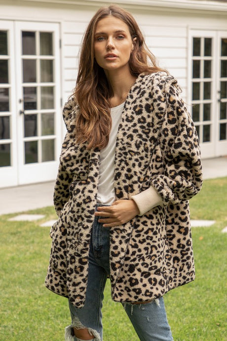 Teddy Sherpa Open Jacket - Leopard