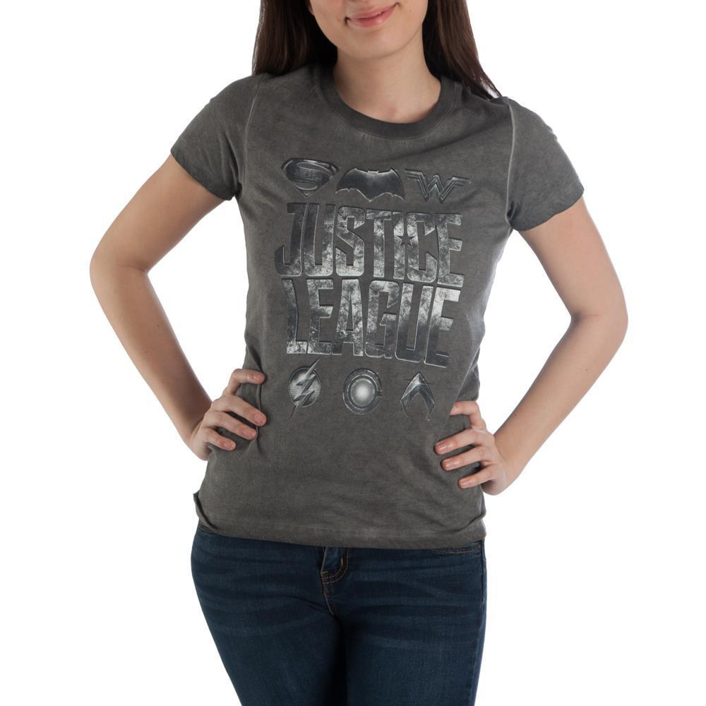 DC Comics Justice League Women's Hi-Lo Hem Charcoal Tee Shirt T-Shirt