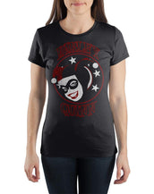 DC Comics Supervillian Harley Quinn Face With Stars Women's Black Tee Shirt T-Shirt