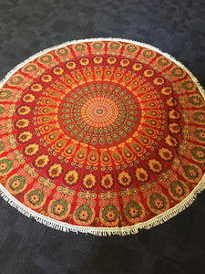 Red round mandala throw