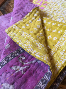 Handmade small vintage kantha throw - yellow & purple