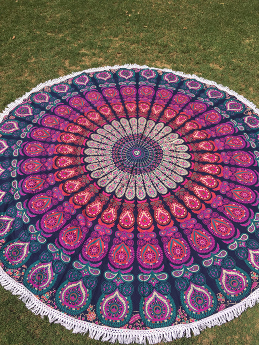 Purple round mandala throw
