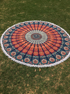 Orange round mandala throw