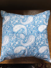 Blue paisley block print cushion cover