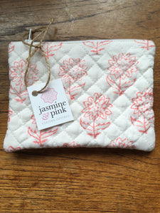 Pink block print small quilted pouch