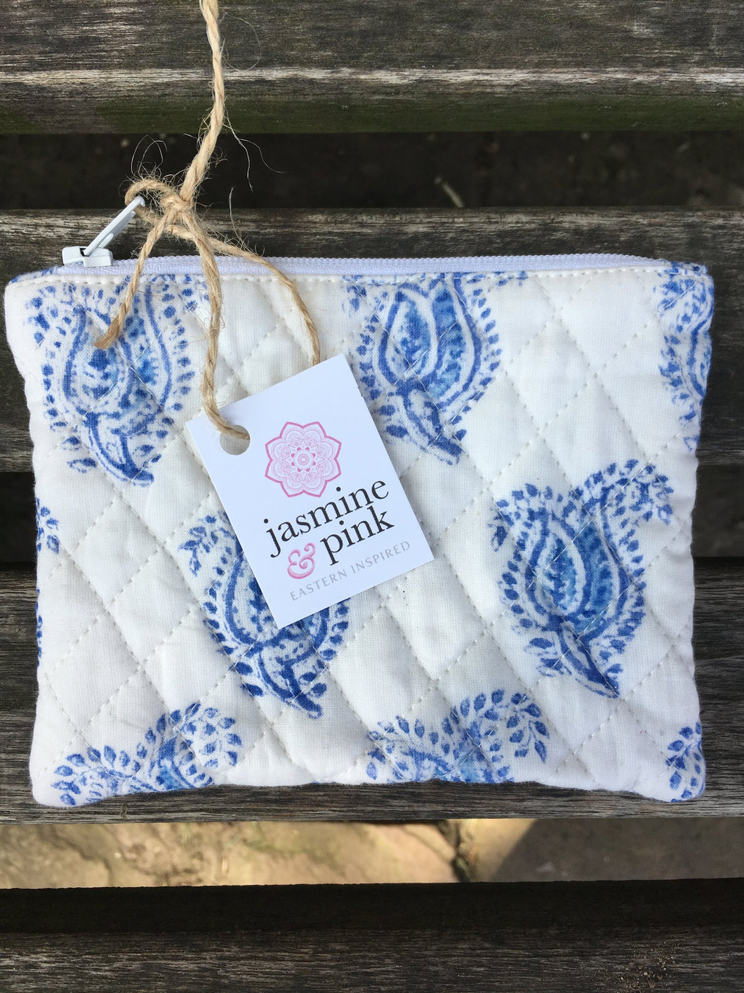 Blue block print small quilted pouch