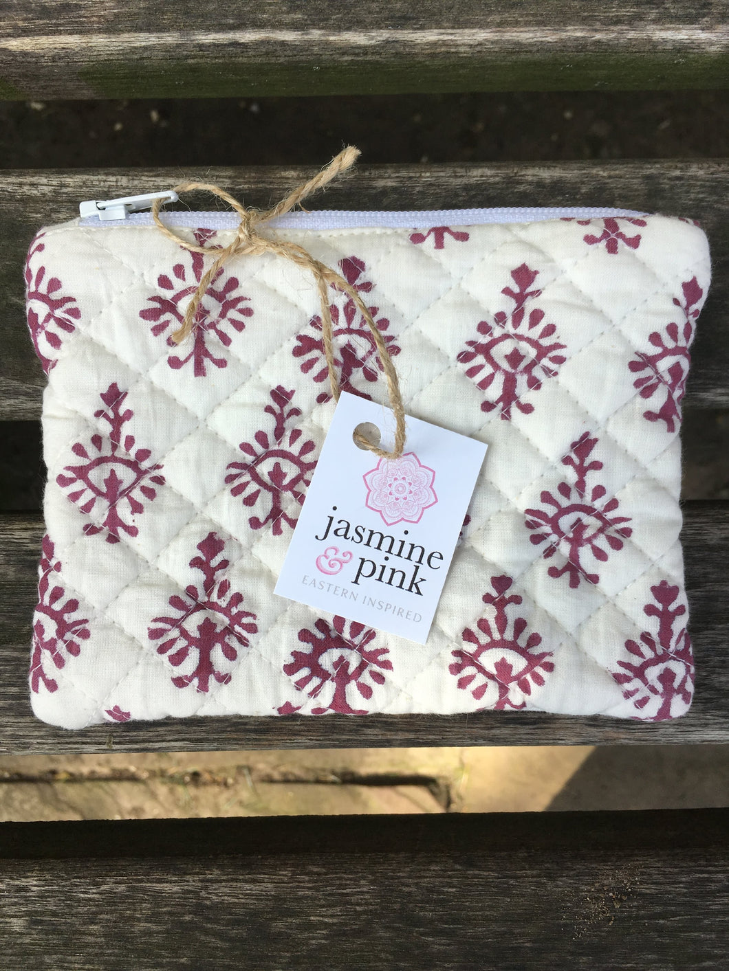 Maroon block print small quilted pouch
