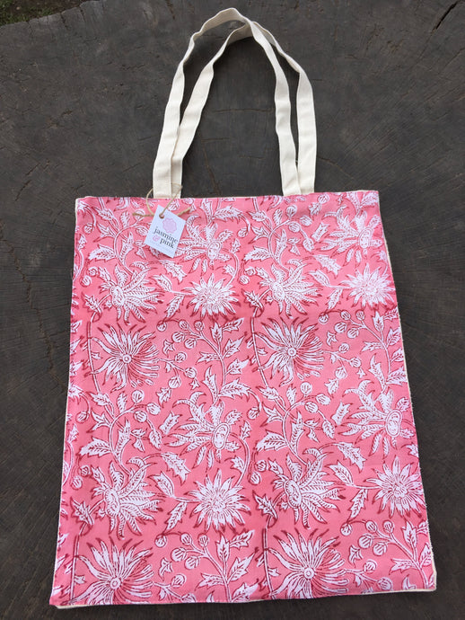 Pink small canvas tote bag