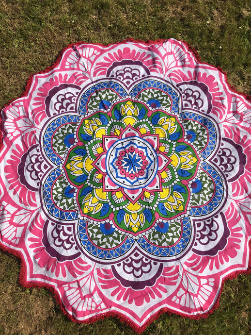 Pink floral mandala throw
