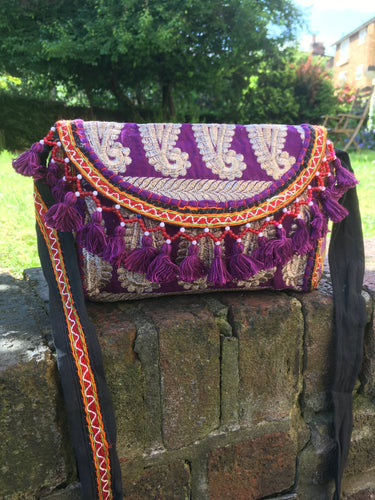 Purple banjara shoulder bag