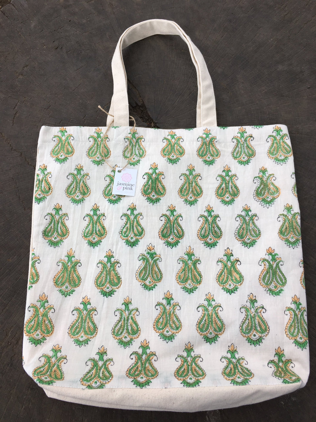 Green large canvas tote bag