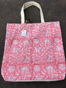 Pink large canvas tote bag