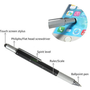 Multi-function Tool Ballpoint Pen Screwdriver Ruler Spirit Level with a top and scale metal penTouch Screen for Ipad Iphone