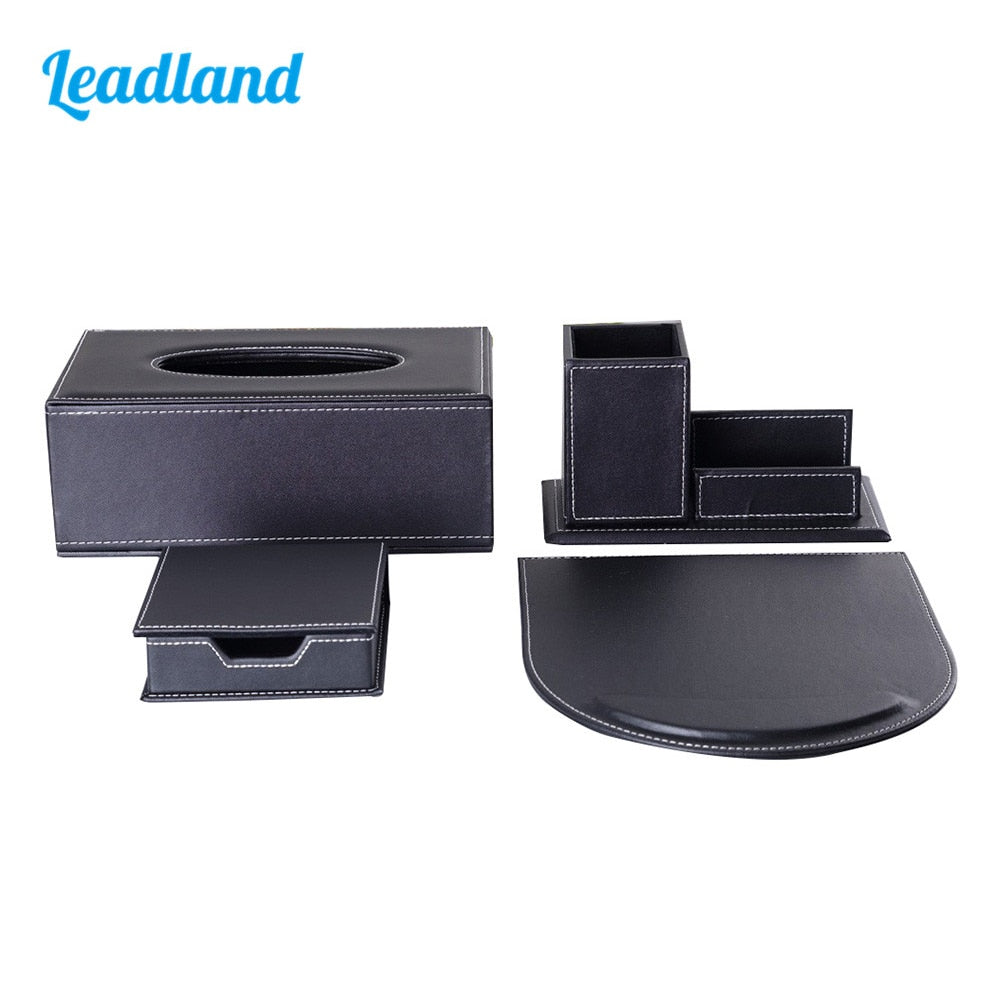 Modern Style Office Desktop Stationery Organizer Set Include Tissue Case Pen Holder Mouse Pad and Memo Box T11