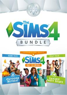 The Sims 4 Bundle - Get to Work, Outdoor Retreat, Luxury Party Stuff - Oynasana