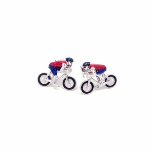 Racing bike cufflinks red/blue