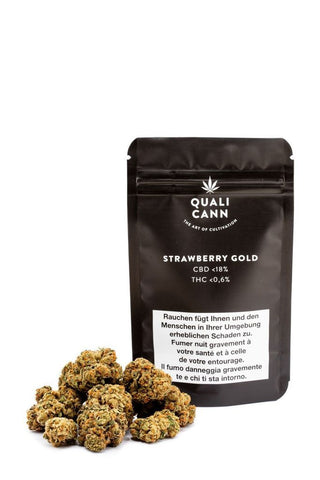 Strawberry Gold Indoor mit bis zu 18% CBD - Qualicann - CBD Tabakersatz - cannabis-trade-center