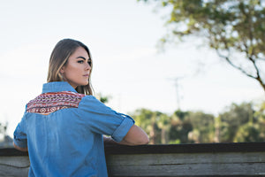 DEFIANT TRAIL'S EMBROIDERED DENIM TOP