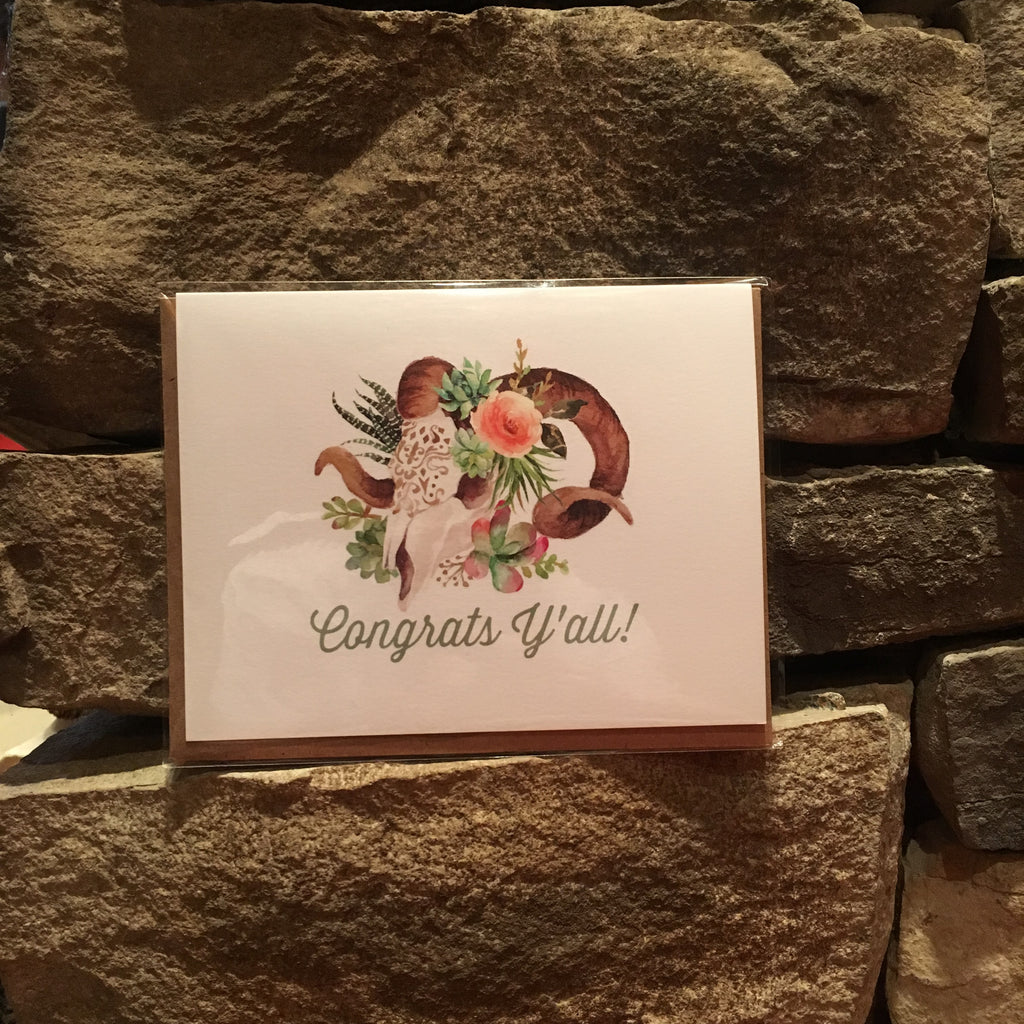 """Congrats Y'all!"" GREETING CARD"