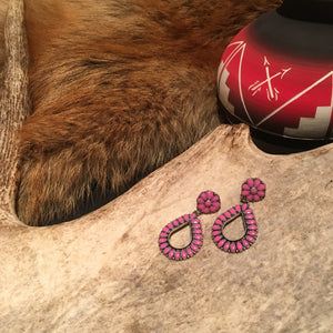 BROKENBANK'S HOT PINK TEARDROP POST EARRINGS