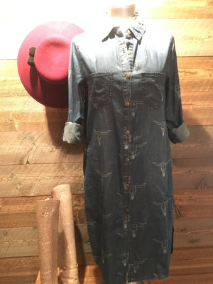 CRUELPEAK'S COWSKULL DENIM DRESS