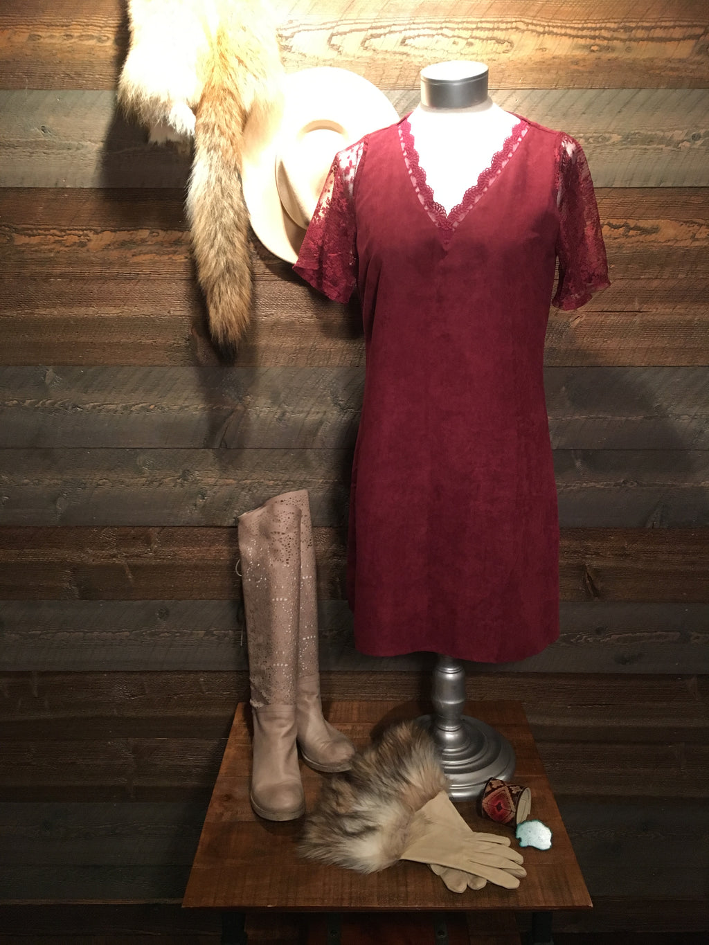 BITTERRANGE BURGUNDY SUEDE DRESS