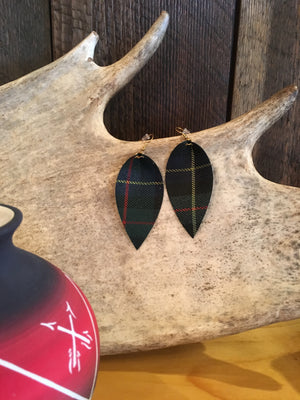 PLAID PASS LEATHER EARRINGS