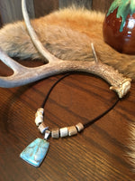 SPECIAL ORDER - Leather, Deer Antler & Turquoise Necklace
