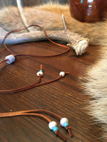 SPECIAL ORDER - Deer Skin Leather, Fresh Water Pearl & Turquoise Necklace
