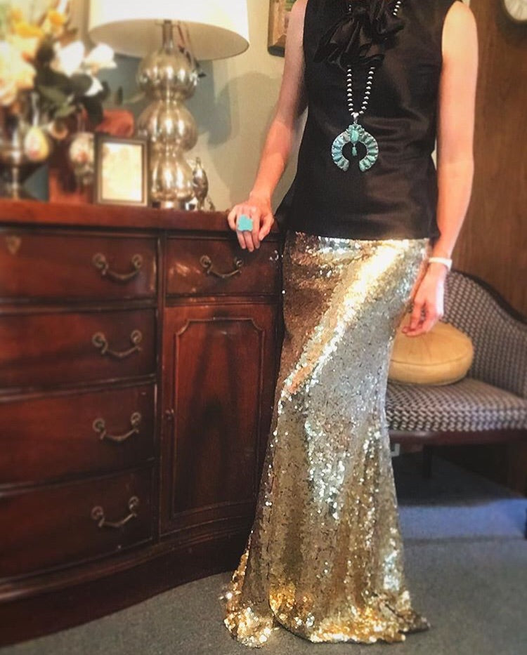 GOLDHOLLOW'S SEQUIN MAXI SKIRT