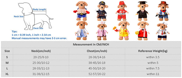 cat costume sizing chart