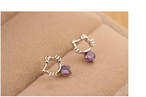 925 Sterling Silver Kitty Earrings