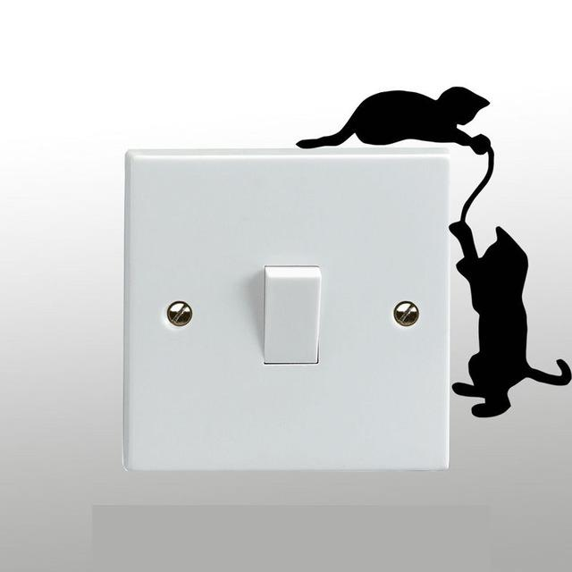 Vinyl Sticker - Cats Playing On A Light Switch