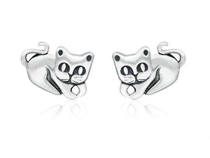 925 Sterling Silver Cute Cat Stud Earrings