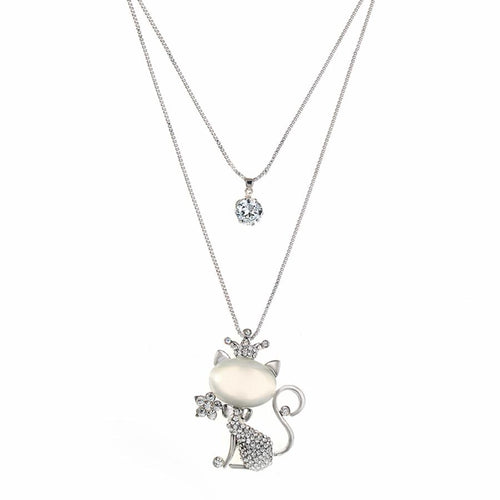 Gorgeous Dual Pendant Cat Crown Necklace