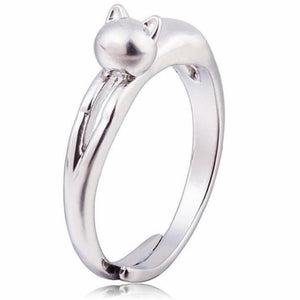 Silver Plated Cute Kitten Open Ring