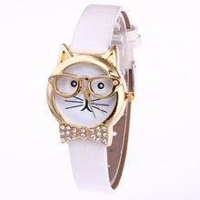 Cute Leather Quartz Cat Watch with glasses