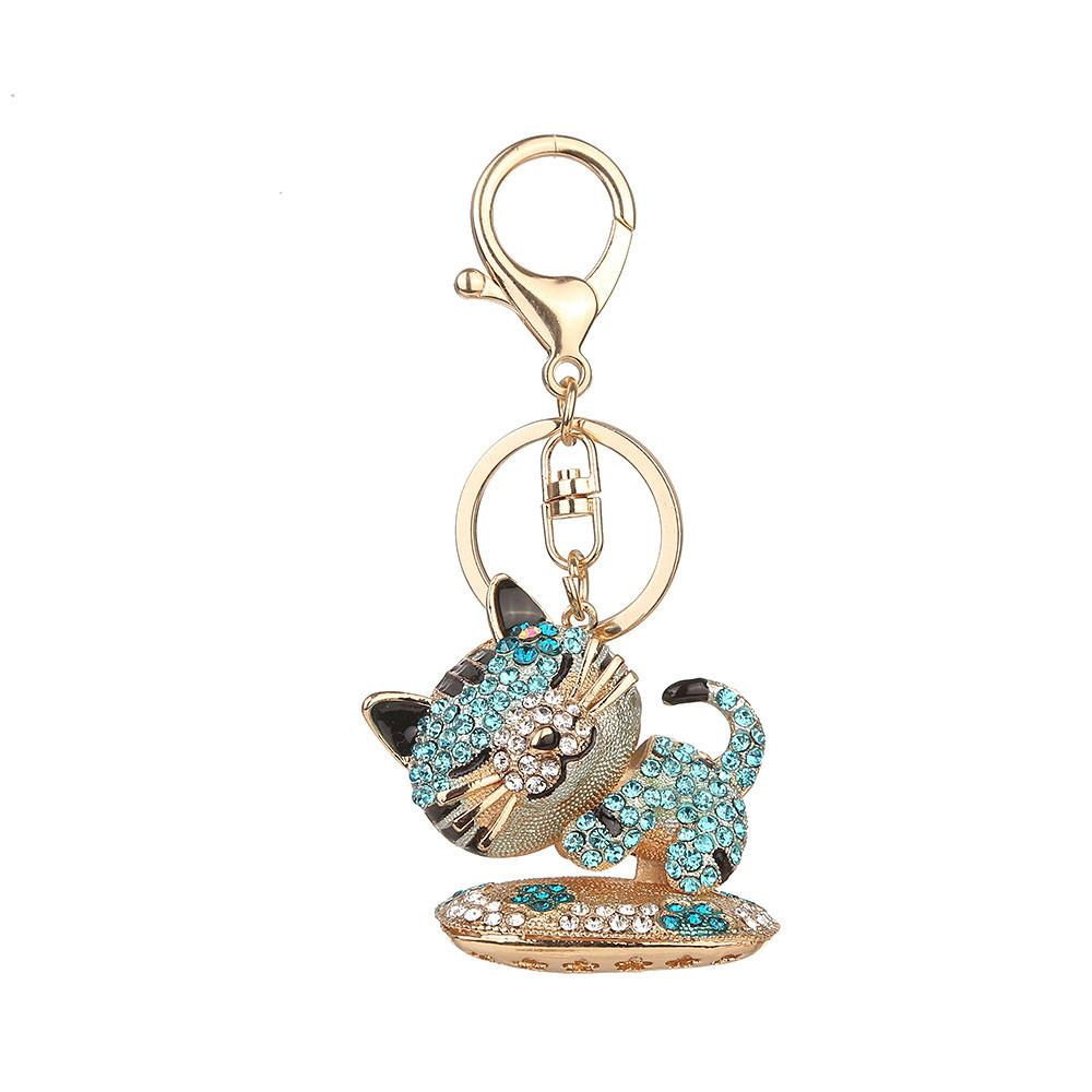 Drowsy Kitten Sparkling Charm key ring