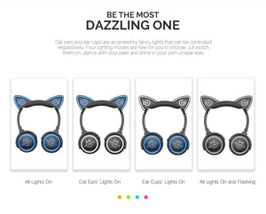 LED Cat Ear Wireless Bluetooth Headphones