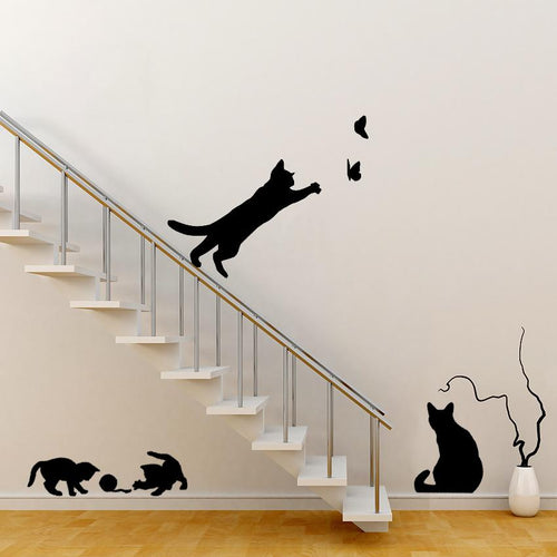 Cats Playing Wall Sticker Set