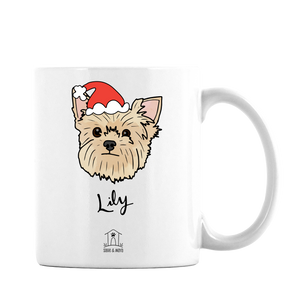 Custom Pet Illustration on Mug - Santa Hat Edition