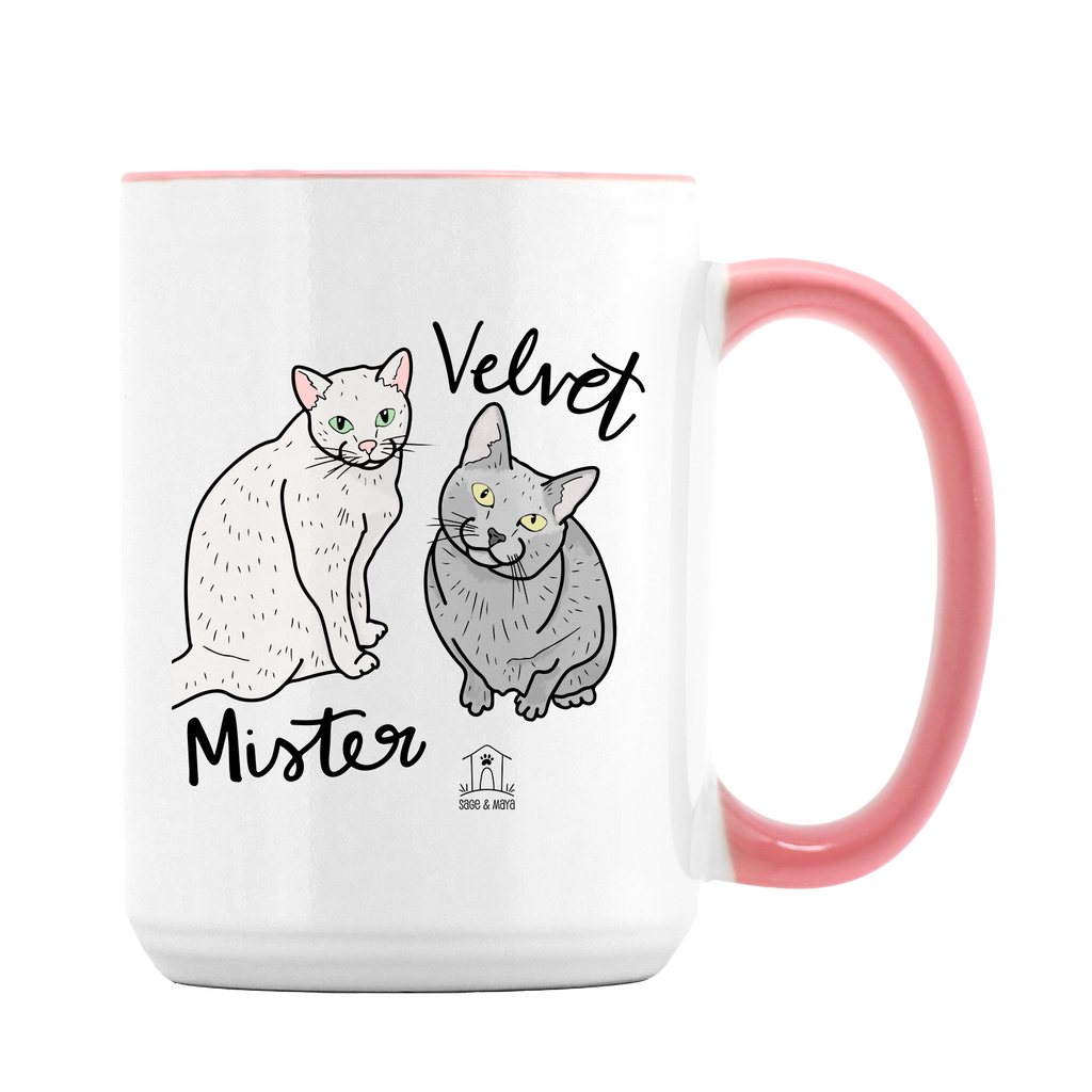 Custom Pet Illustration on Large Pink + White Mug