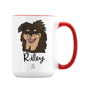 Custom Pet Illustration on Large Red + White Mug