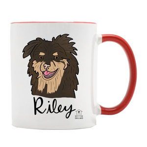 Custom Pet Illustration on Red + White Mug