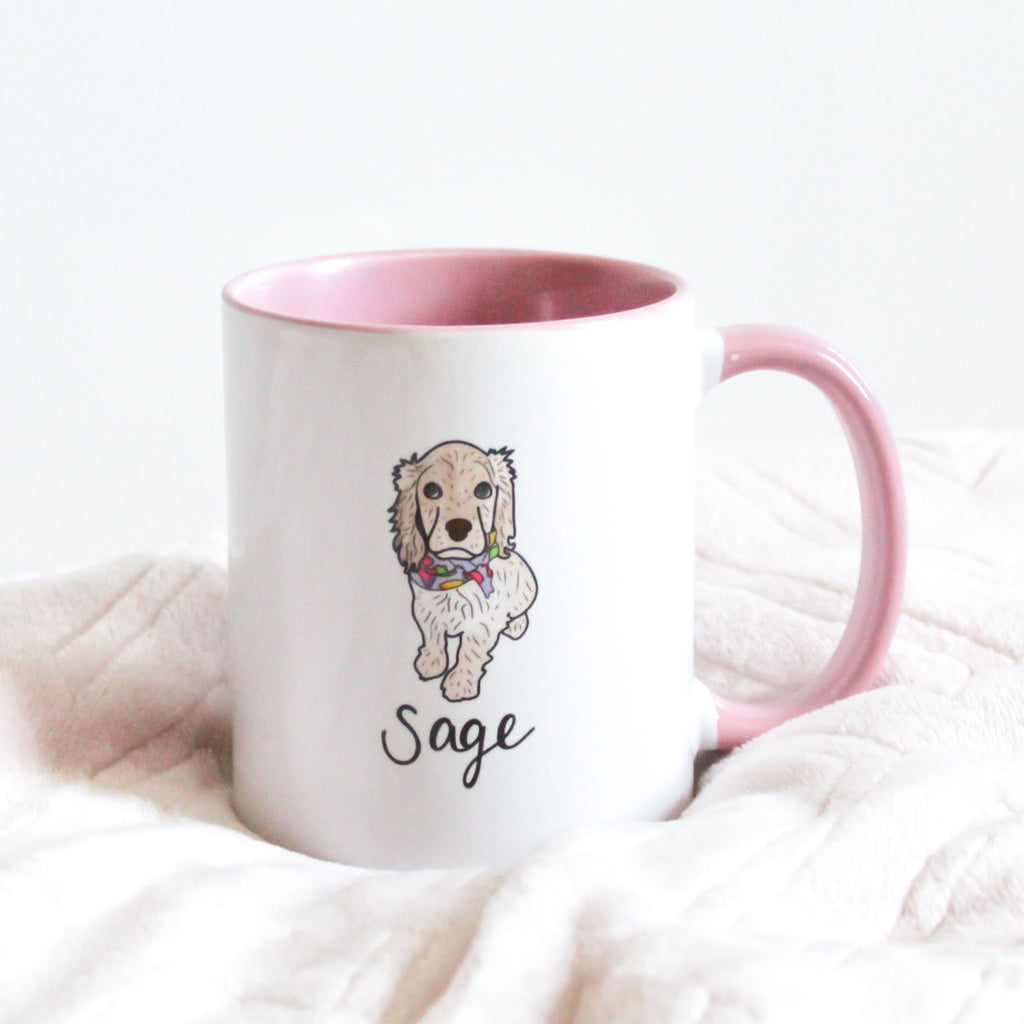 Custom Pet Illustration on Pink + White Mug