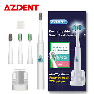 Wireless Rechargeable Ultrasonic Electric Toothbrush Sonic Teeth Tooth Brush 4 Pcs Replacement Heads Kid Adult