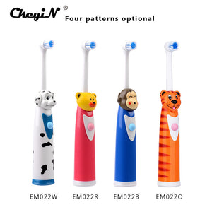 CkeyiN 4Pcs Cartoon Children Kids Electric Toothbrush Sets With 8 Brush Head Rotation Battery Operated