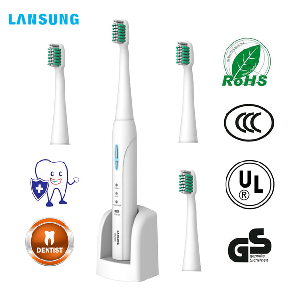 Wireless Rechargeable Ultrasonic Presented 4 Toothbrush heads BrushSets - Dentists-world